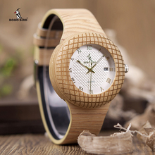 Bobo pássaro relógio de quartzo de madeira das mulheres dos homens relógios pulseira de couro para presentes na caixa de madeira W iQ17 transporte da gota