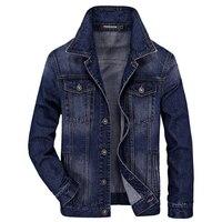 HOT M 4XL Spring Autumn Denim Jacket Men Cotton Patch Jeans Jacket Jaquetas Man Military