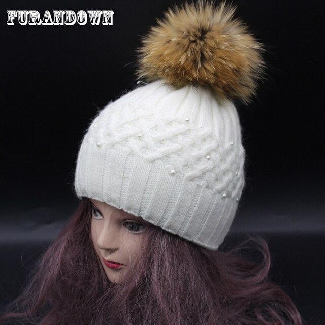 Conejo Pieles de animales tejer sombrero de invierno mapache Pieles ...