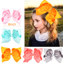 8 Large Grosgrain Ribbon Hair Clips Hairpins Barrette Bowknot Headwear Solid Children Bow For Girls