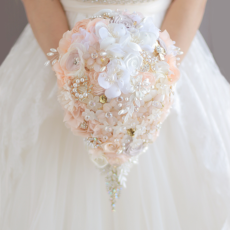Waterfall style bouquet Fashion PE Crystal Artificial Bride Hands ...