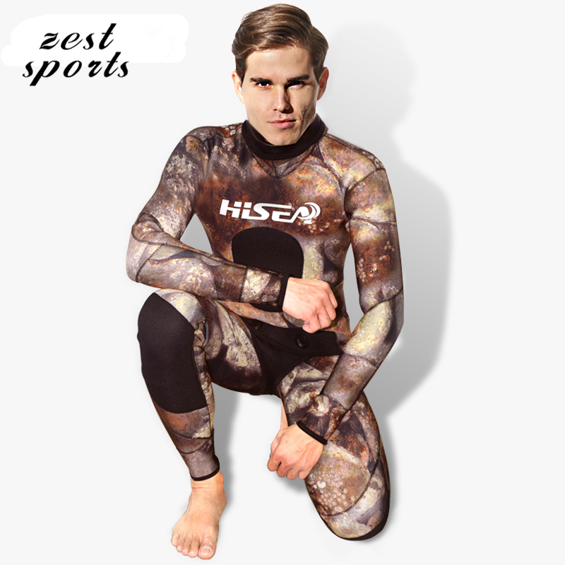 M056, men's 3.5mm Two-piece wetsuit,  Neoprene, Coral / pebble pattern, long-sleeved with cap,winter swimsuit, Individuality sur