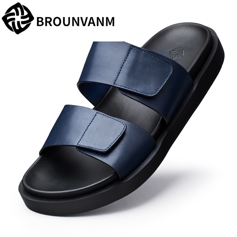 mens anti skid sandals fender summer men genuine leather slippers cowhide Sneakers Men Flip Flops casual