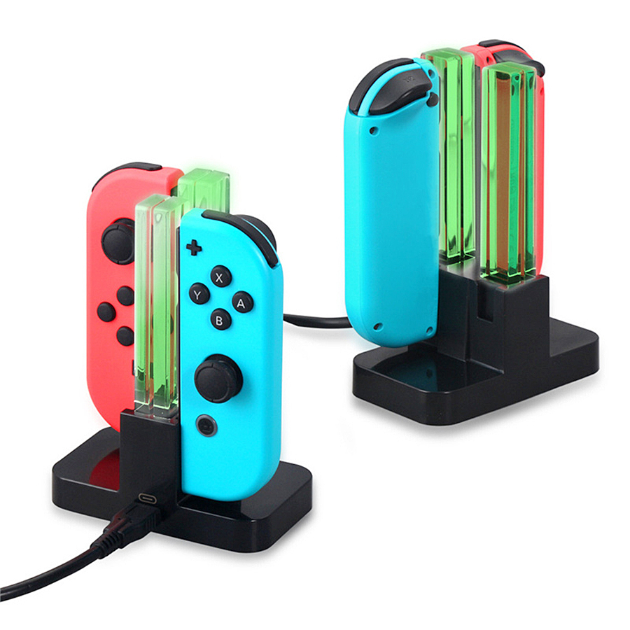 4 In 1 LED Indication Light Charging Dock Station Cradle Charger Stand For Nintend Switch Joy-Con NS Controllers Gamepad 4