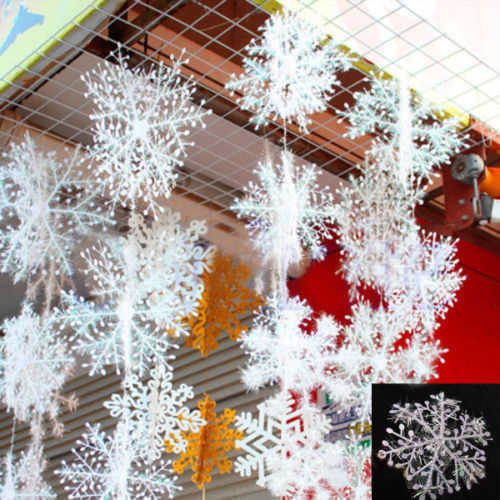 Hot 30 Pcs (about 10 bags)  Xmas Classic Charming White Snowflake Party Holiday Christmas Ornaments Home Decor