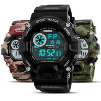 SKMEI Waterproof S SHOCK Men Sports Watches Luxury Brand Camouflage Military Watches Digital LED Wristwatches Relogio Masculino