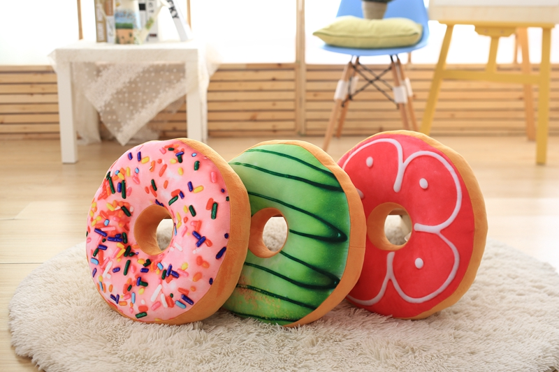 Nieuwe creative leuke donuts kussen kussens knuffels imitatie