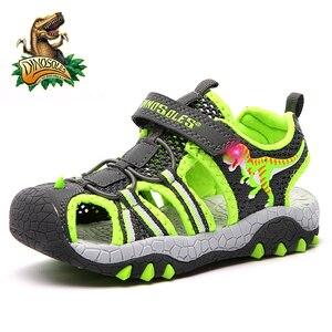 Image 2 - Dinosoles 아기 소년 샌들 라이트 업 메쉬 키즈 신발 3d 공룡 여름 해변 어린이 샌들 2019 led 빛나는 유아 신발