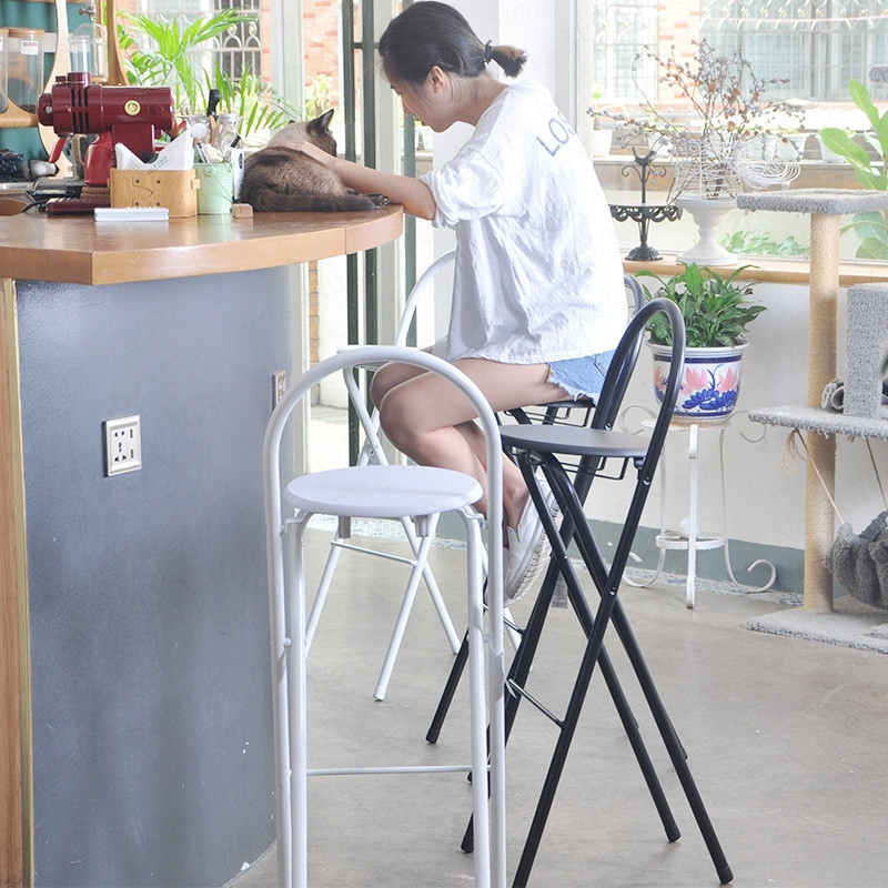 Folding Chair Bar Stool High Chair Stool Home Dining Chair Simple Portable Thickening Adult Chair Stool