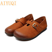 AIYUQI Women's footwear flat 2019 new women shoes genuine leather national oxford women's loafers casual non slip mother shoes