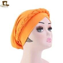 Cap African Style Muslim Turban Hair Accessories Fashion Bohemian style Women Braided plait cap hijab Bandanas Headwear