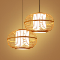 Bamboo Wicker Rattan Lantern Pendant Lamp Lights Fixture Japanese Rustic Hanging Lamp Avize Luminaria Lustre Indoor Home Decor