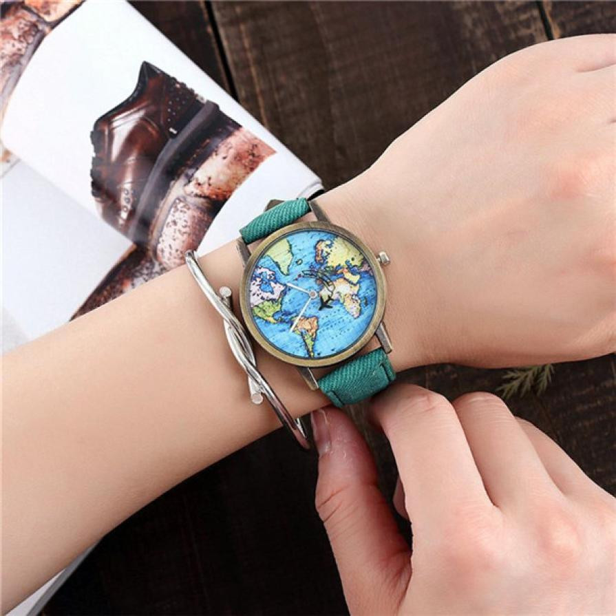World Map Cowboy Watches Gift 2019 Retro Design PU Leather Unisex Quartz Watch Sport Watches For Men Relogio Masculino #BL5(China)