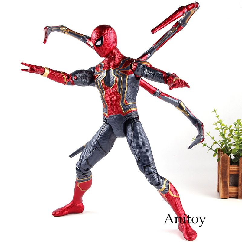 купить Marvel Avengers Infinity War Iron Spider Spiderman Toys Action Figures PVC Collection Model Toy with Lighting Eyes 36cm недорого