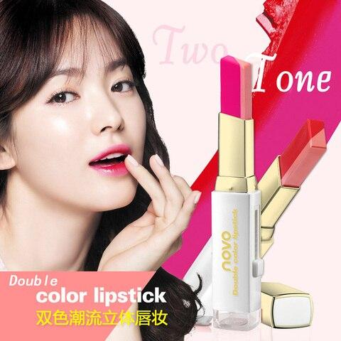 NOVO Lipstick Lip Makeup Double Color makeup Three-dimensional Moisturizing Lipstick Lip Blam Cosmetic 8 Colors for Choose Islamabad