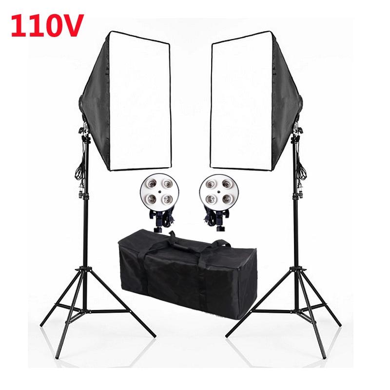 bilder für Fotografie Studio Kontinuierlichen Weichen box Beleuchtung Kits 110 V E27 4 Kant + 50x70 cm Softbox * 2 + Lichtstativ * 2 Foto Licht Set