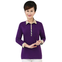 British Style Middle Aged Woman Classical Shirts Purple Navy Blue Red Gray Tops Elegant Lady Slim