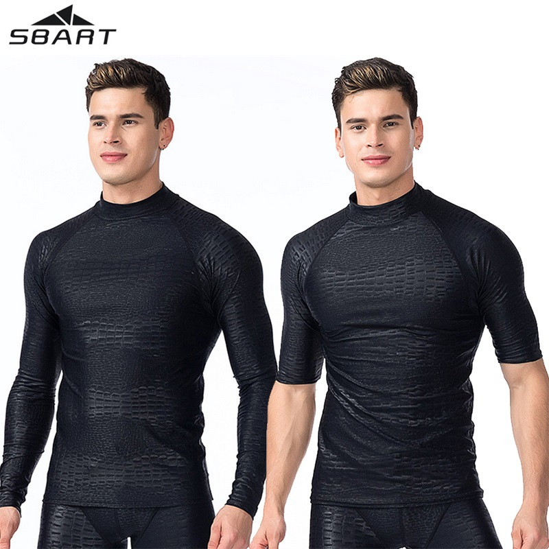 Sbart Men's UV Protected Rash Guard Quick-dry Swimming Surfing Long Sleeve&Short Sleeve T Shirt For Men Professional Swimwear round neck quick dry solid color short sleeve men s t shirt
