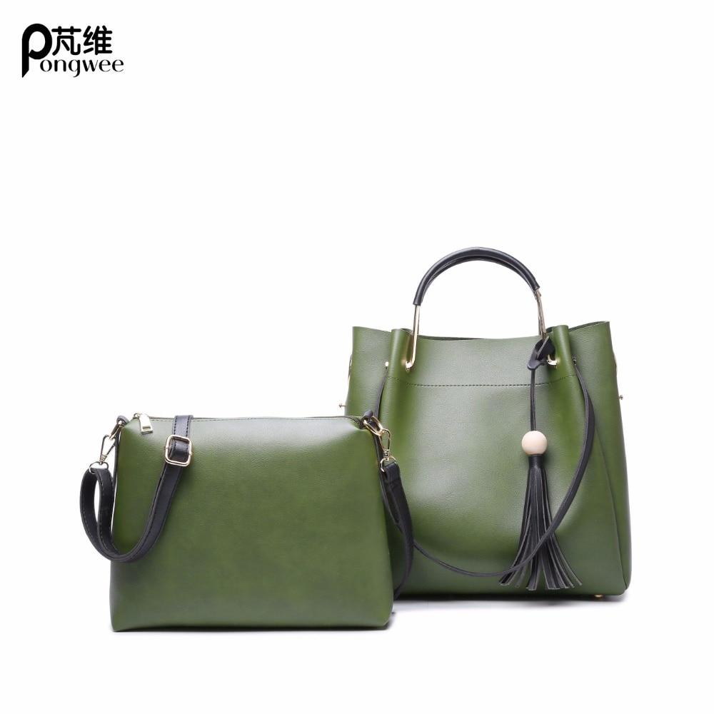 PONGWEE 2017 femmes Messenger sacs sac à main ensemble PU cuir Composite femmes sac Top-poignée sacs femme célèbre marque sac #359