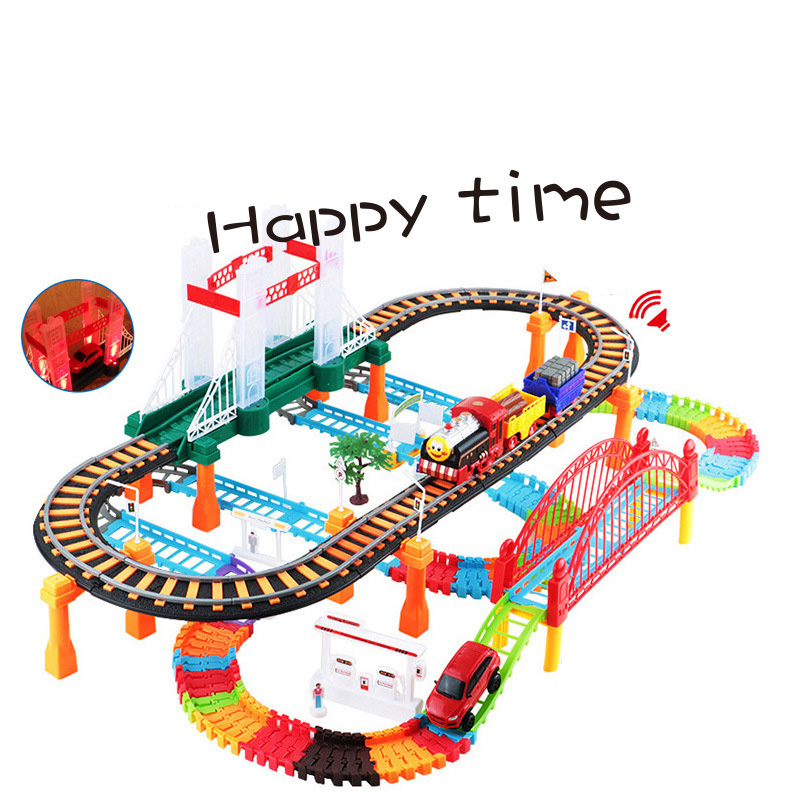 Car Racing Magical Track City High Speed Rail Electric Highway Multilayer Interchangeable Track Race Driving Toys For Children cute sunlight toys for boys girls vehicle multi track rail car