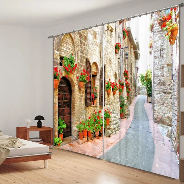 Pastoral Scenery Flowers Print Modern 3D Blackout Curtain for Bedding - Home Textile - Photo 2