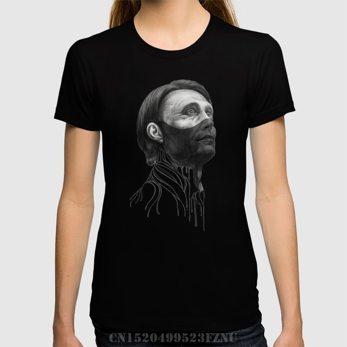 Spring summer black friday t shirts womens Hannibal Lecter short O neck Character Knitted kpop tees homme Clothing