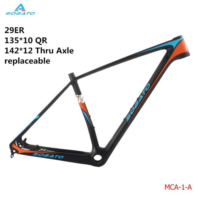86f851ef6 Sobato peso Super Leve De Fibra De Carbono MTB Mountain Bike Quadro Pintura  Laranja MTB