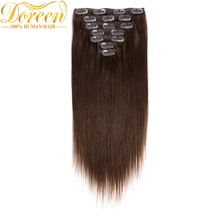 Doreen Brazilian Human Hair In Extensions 120G Full Head Set 7Pecs #4 Chocolate Brown Non-Remy Straight Hair Clip Ins 14-24 Inch