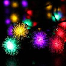 цена на 4.8M Solar Power  20 LED LED Furry Ball RGB   Snowflake led String Light Christmas outdoor led string light