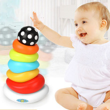 New Baby DIY Rainbow Tower Piles Music Blocks Kids Colorful Tumbler Stacking Ring Children Educational Plastic Toys Gifts