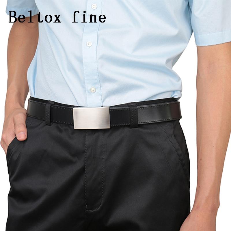 Image 5 - Men's Top Grain Bridle Leather Dress Belts No Ratchet Automatic Buckle 1 3/8 Designer Belt Cassic belts for men ceinture-in Men's Belts from Apparel Accessories