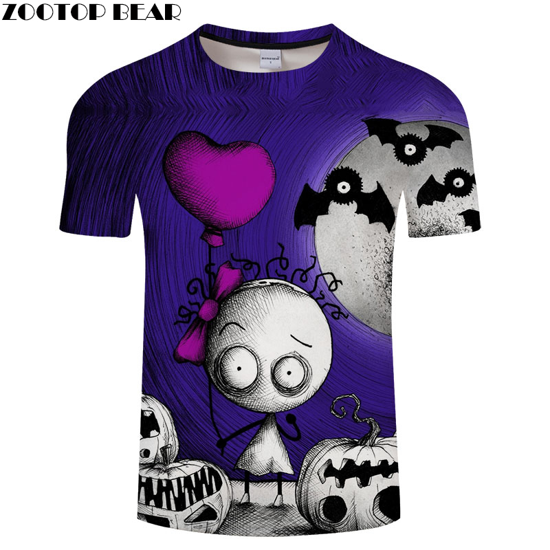 Jack skellington 3d Print tshirt Men t shirt Male Top Tee Hot sale t-shirt Short Sleeve Camiseta Halloween Drop Ship ZOOTOP BEAR