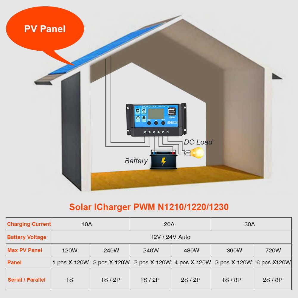 Источник питания Easun Солнечный контроллер 12 В 24 В 30A 20A 10A солнечный регулятор ШИМ Солнечная Панель зарядное устройство ЖК-дисплей двойной USB 5 В выход