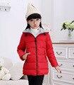 Горячий продавать 2016 мода зима дети вниз телогрейки утолщаются капюшоном средней длины Теплая вниз Куртки для девочек