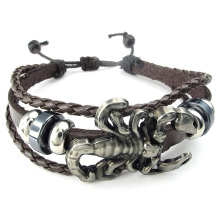 Jewelry Men's Bracelet, Retro Gothic Scorpion Charm Bracelet, 19-26cm Adjustable Sizes, Braided Leather Alloy, Brown