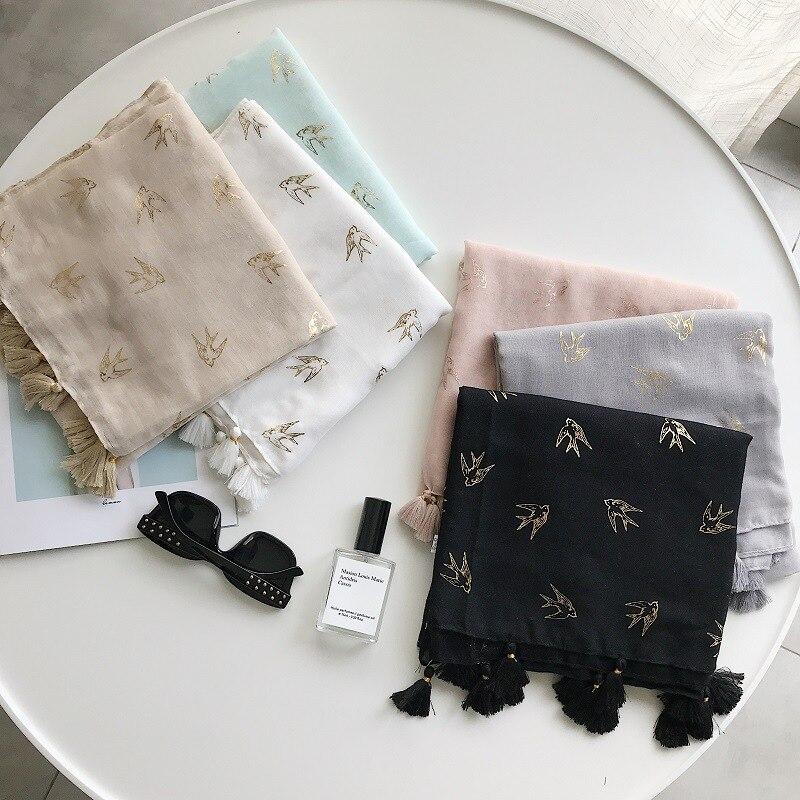 2018 Newest Women Bird Pattern Gold Foil Pattern Cotton Tassel Scarf 5Colors 10PCS/LOT