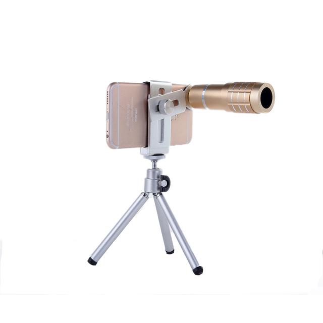 Lentes Lentes de 12x Zoom Universal Telescópio Óptico Lente Da Câmera Telefoto com tripé para samsung galaxy j5 s3 s4 s5 s6 iphone