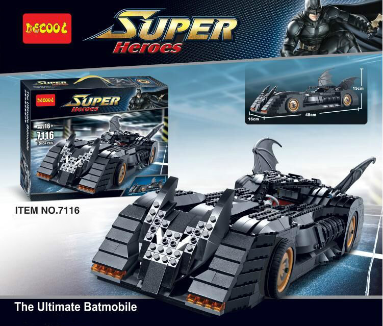 New bricks 7116 1045Pcs Superhero Batman The Ultimate Batmobile Model Building Kit Toy Compatible with 07060 05033Toys lepin