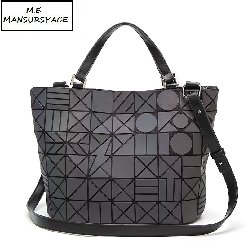 цены MANSURSPACE Women Luminous bao bao Bag sac baobao Bag lightning Tote Geometry Quilted Shoulder Bags Laser Plain Folding Handbag