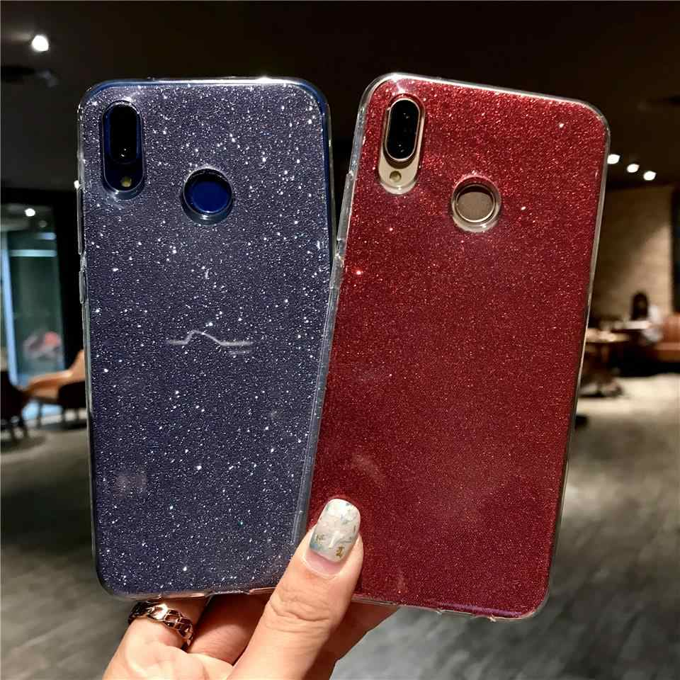 Glitter 2 in 1 TPU Case For Huawei P20 Pro P10 Mate 20 Lite Nova 3 2 Silicone Back Cover Honor 10 9 8 7X 6X 6A 7A Y6 Prime 2018