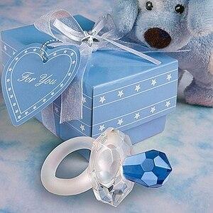 50 sztuk darmowa wysyłka różowy niebieski nowy pamiątka i prezent kryształ Baby Shower chłopiec dziewczyna Gift Box sutek chrzest przysługę dla gości
