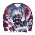 Hoodies Tokyo Ghoul Sweatshirt Men Hip Hop Ken Kaneki 3D Sweatshirt Male Crewneck Casual Fashion Slim Fit Anime Hoodie