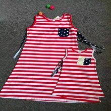 Mommy and Me/летнее платье в красную и белую полоску 4 июля платье на бретелях с кисточками сзади платье в патриотическом стиле для мамы и дочки AG19002