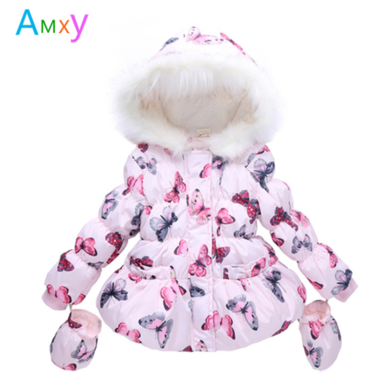 AIMEIXIUYI Girls Winter Coat 2017 Children Butterfly Print Faux Fur Hooded Jacket Kids Thick Fleece <font><b>Warm</b></font> Parkas with <font><b>Gloves</b></font>