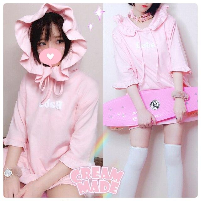 pink kawaii hoodie pullover women summer ulzzang hoodie cute japanese  hoodies student lolita tops 5d4b9fb2c5