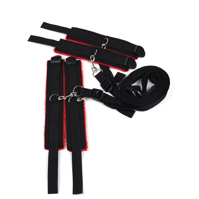 Image 3 - Adult Game Bdsm Bondage Under Bed Restraint Nylon Rope Plush Handcuffs Ankle Cuffs Metal Hook Sex Toys for Couples Women    -