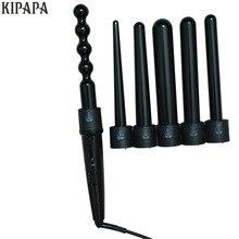 New 6 in 1 Clipless Ceramic Curling Wand Hair Curler Set Pro Interchangeable Barrel 9MM-32MM Tourmaline Curling Iron Machine
