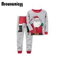 Christmas Pajamas Kids Clothes Suits 2pcs 2017 Winter Baby 1 4 Years Santa Claus Long Sleeve