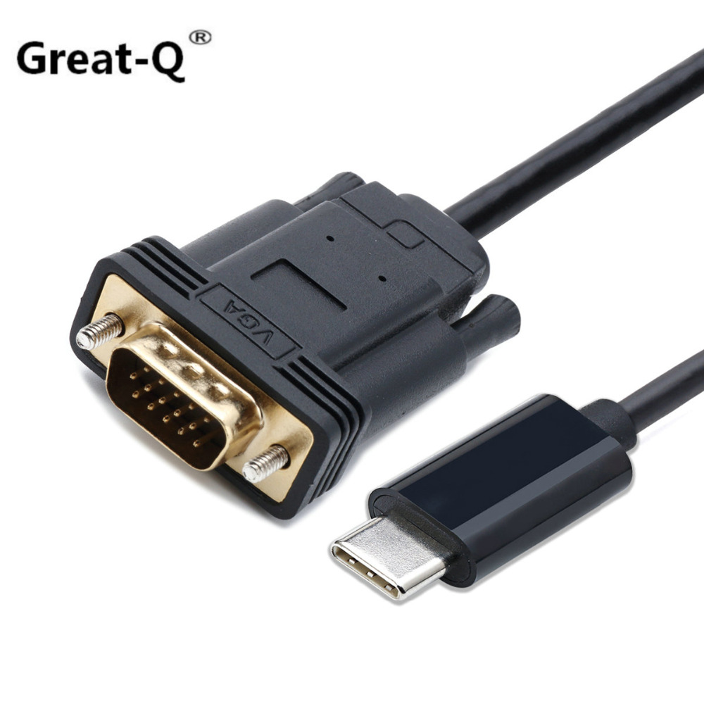 Great-Q  USB-C Type C USB 3.1 to VGA Male 1080p HDTV Monitor Cable for Macbook & Chrombook & XPS13 Laptop usb3 1 usb type c to displayport dp 4k cable adapter 1 8m black for new macbook hdtv projector monitor display 2017 hot product