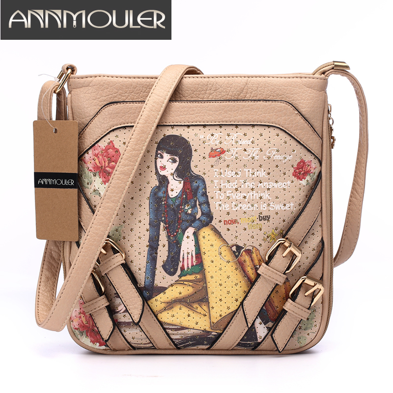 Annmouler Famous Brand Women Bags Cartoon Printing Shoulder Messenger Bag Leather Adjustable Strap Zipper Bag 2 Colors Flap Bag